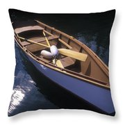 Wooden Boat And Paddles In Halibut Cove Throw Pillow