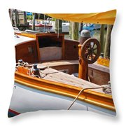 Wooden Boat Throw Pillow