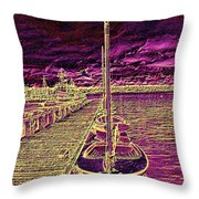 Wooden Boat Moorage Throw Pillow