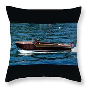 Wooden Boat Waves On Tahoe Throw Pillow