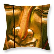 Wooden Buddha Face Throw Pillow