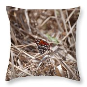 Wooden Butterfly Throw Pillow