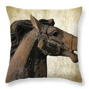 Wooden Carousel Horse Throw Pillow