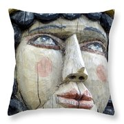 Wooden Carving In Santa Fe 8 Throw Pillow