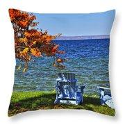 Wooden Chairs On Autumn Lake Throw Pillow