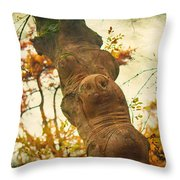 Wooden Creatures Throw Pillow