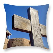Wooden Cross And Penitente Church Throw Pillow