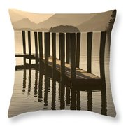 Wooden Dock In The Lake At Sunset Throw Pillow