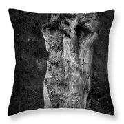 Wooden Face 2 Throw Pillow