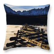 Wooden Fence And Sawtooth Mountain Range Throw Pillow