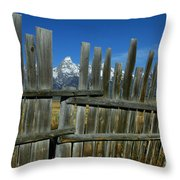 Wooden Fence, Grand Tetons Throw Pillow