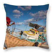 Wooden Fishing Boat On Shore Throw Pillow