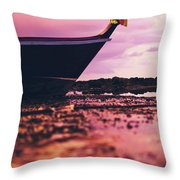 Wooden Fishing Thai Boat Sunken On The Rocky Beach During Tide Throw Pillow
