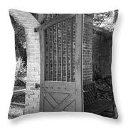 Wooden Garden Door B W Throw Pillow