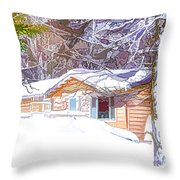 Wooden House In Winter Forest Throw Pillow