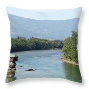 wooden house on rock Drina river Serbia Throw Pillow