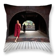 Wooden Monastery Throw Pillow