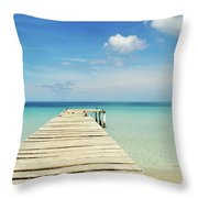 Wooden Pier On A Perfect Tropical Caribbean White Sand Beach Throw Pillow