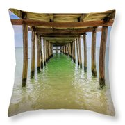 Wooden Pier Stretching Into The Sea Throw Pillow