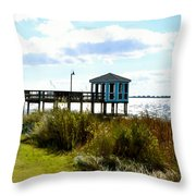 Wooden Pier With Pavilion Throw Pillow
