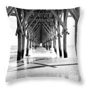 Wooden Post Under A Pier On The Beach Throw Pillow