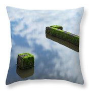 Wooden Posts At Low Tide Throw Pillow