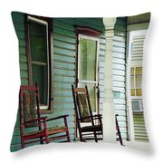Wooden Rocking Chairs On Porch Throw Pillow