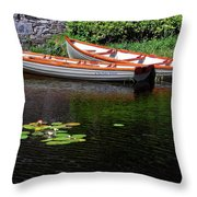 Wooden Rowboats Throw Pillow