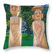 Wooden Sculptures In Central Park In Bariloche-argentina Throw Pillow
