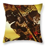 Wooden Shadow Puppets Throw Pillow