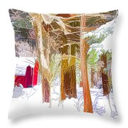 Wooden Shed In Winter Throw Pillow