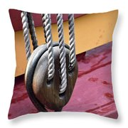 Wooden Ship Block And Tackle 13922  Throw Pillow