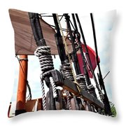 Wooden Ship Blocks And Tackle 13921 Throw Pillow