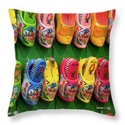 Wooden Shoes From Amsterdam Throw Pillow
