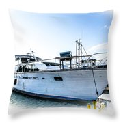 Wooden Yacht In Mooring Throw Pillow
