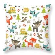 Woodland Animals Throw Pillow by Tiffany Dawn Smith