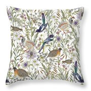 Woodland Edge Birds Throw Pillow