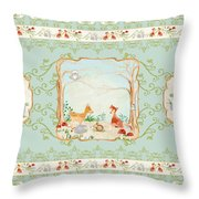 Woodland Fairy Tale - Aqua Blue Forest Gathering Of Woodland Animals Throw Pillow