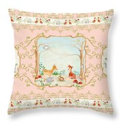 Woodland Fairy Tale - Blush Pink Forest Gathering Of Woodland Animals Throw Pillow