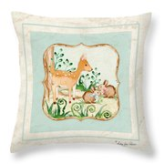 Woodland Fairy Tale - Deer Fawn Baby Bunny Rabbits In Forest Throw Pillow