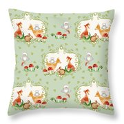 Woodland Fairy Tale - Mint Green Sweet Animals Fox Deer Rabbit Owl - Half Drop Repeat Throw Pillow