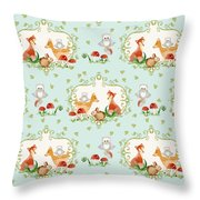 Woodland Fairy Tale - Sweet Animals Fox Deer Rabbit Owl - Half Drop Repeat Throw Pillow