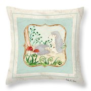 Woodland Fairy Tale - Woodchucks In The Forest W Red Mushrooms Throw Pillow