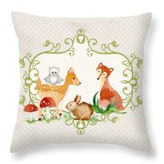 Woodland Fairytale - Grey Animals Deer Owl Fox Bunny N Mushrooms Throw Pillow