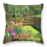 Woodland Garden In A Small Town Throw Pillow