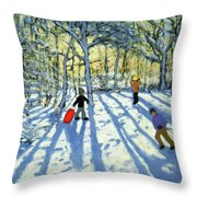Woodland In Winter Throw Pillow