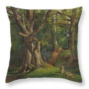 Woodland Scene With Rabbits Throw Pillow