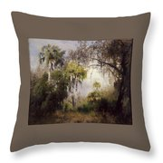 Woodland With Deer Throw Pillow