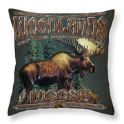 Woodlands Moose Throw Pillow