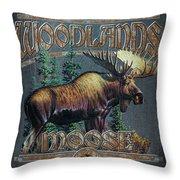 Woodlands Moose Sign Throw Pillow